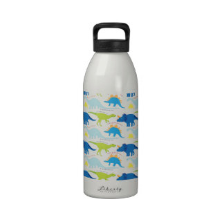 Dinosuar Designs Blue and Green Pattern Dino Gifts Reusable Water Bottle