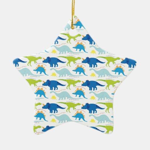 Dinosuar diseña los regalos azules y verdes de adorno navideño de cerámica en forma de estrella