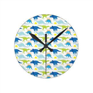 Dinosuar diseña los regalos azules y verdes de Din Reloj Redondo Mediano