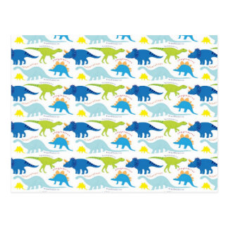 Dinosuar diseña los regalos azules y verdes de tarjeta postal
