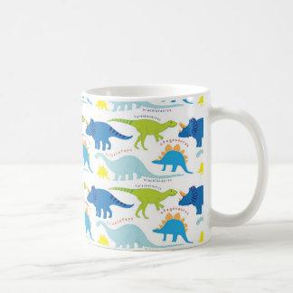 Dinosuar diseña los regalos azules y verdes de taza clásica