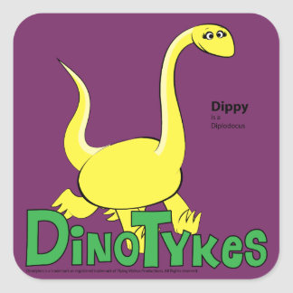 Dinotykes Dippy is a Diplodocus Square Sticker