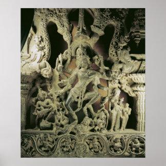 Dintel con Shiva Nataraja, dinastía de Kakatiya Póster