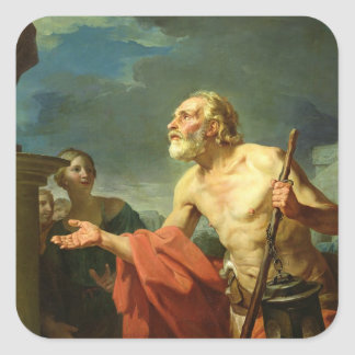 Diogenes Asking for Alms, 1767 Square Sticker