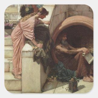 Diogenes by John William Waterhouse Square Sticker
