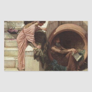Diogenes by John William Waterhouse Rectangle Sticker