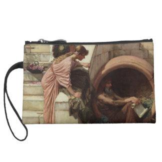 Diogenes by John William Waterhouse Suede Wristlet Wallet