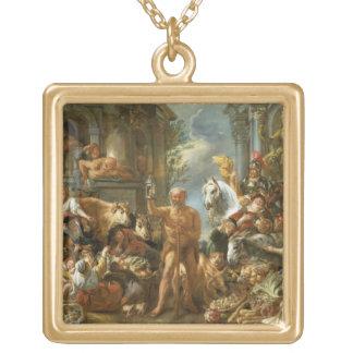 Diógenes que busca para un hombre honesto, c.1650- colgante cuadrado