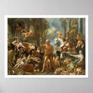 Diógenes que busca para un hombre honesto, c.1650- poster