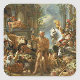 Diogenes Searching for an Honest Man, c.1650-55 (o Square Sticker