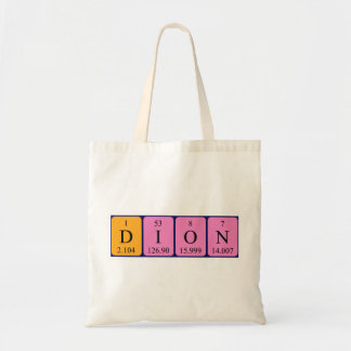 Dion periodic table name tote bag