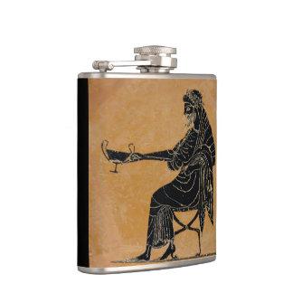 Dionysus con la taza del vino petaca