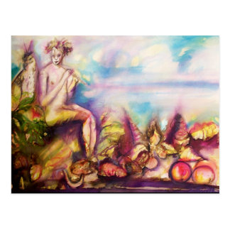 DIONYSUS ,Playing Flute with Sea shells and Fruits Postcards