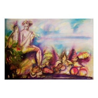 DIONYSUS ,Playing Flute with Sea shells and Fruits Poster