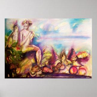 DIONYSUS, tocando la flauta con las cáscaras y las Poster