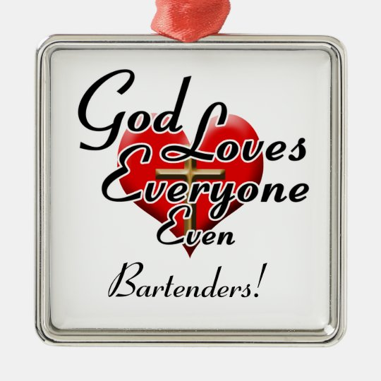 ¡Dios ama a camareros! Adorno Navideño Cuadrado De Metal
