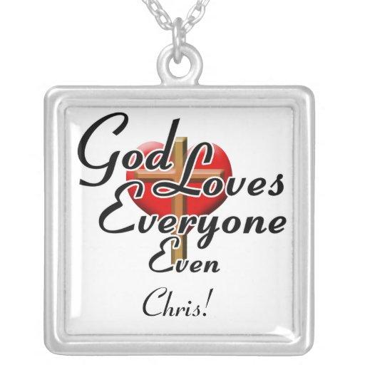 ¡Dios ama a Chris! Colgante Cuadrado