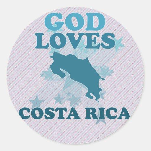 Dios ama a Costa Rica Pegatina Redonda