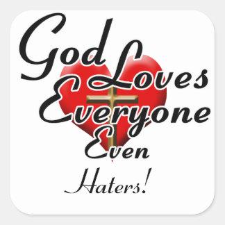 ¡Dios ama a enemigos! Pegatina Cuadrada