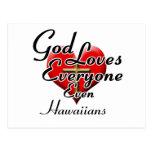 Dios ama a Hawaiians Tarjeta Postal