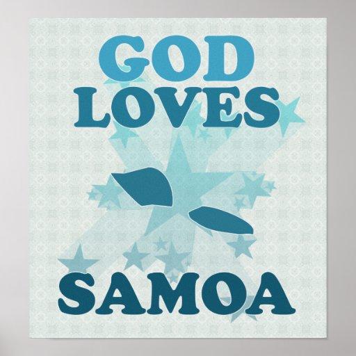 Dios ama a los americanos Samoa Póster