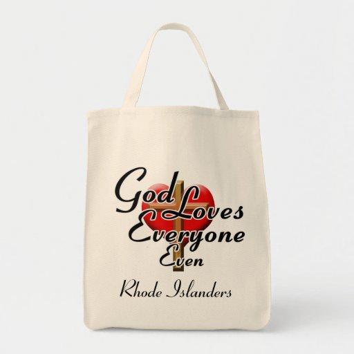 Dios ama a los isleños de Rhode Bolsa Tela Para La Compra
