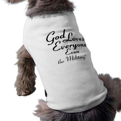 ¡Dios ama a los militares! Playera Sin Mangas Para Perro