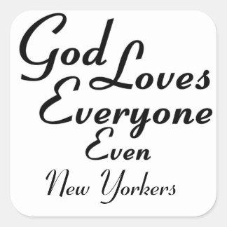 Dios ama a neoyorquinos calcomania cuadradas personalizadas
