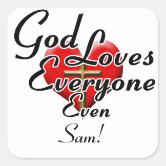 ¡Dios ama a Sam! Pegatinas Cuadradas