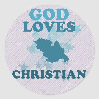 Dios ama al cristiano etiqueta redonda