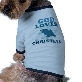Dios ama al cristiano camiseta con mangas para perro