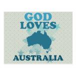Dios ama Australia Tarjeta Postal