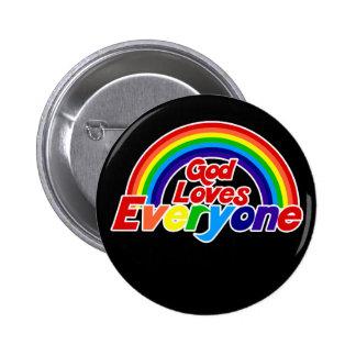 Dios ama cada uno arco iris gay pin redondo de 2 pulgadas
