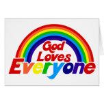 Dios ama cada uno arco iris gay tarjeton