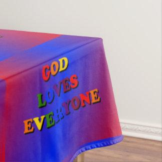 Dios ama cada uno colorido mantel