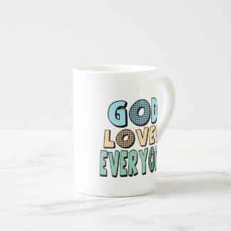 Dios ama cada uno taza de porcelana