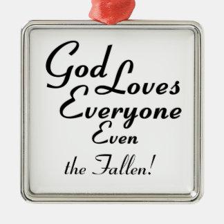 ¡Dios ama caido! Adorno Navideño Cuadrado De Metal