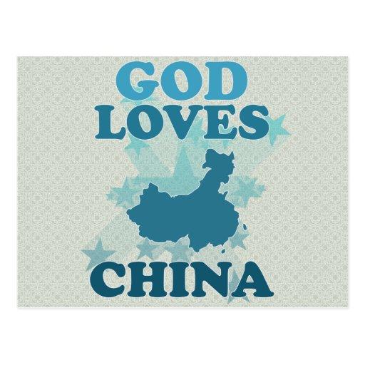Dios ama China Tarjetas Postales
