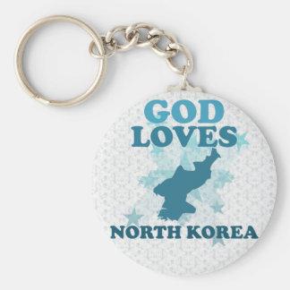 Dios ama Corea del Norte Llavero Redondo Tipo Pin
