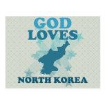 Dios ama Corea del Norte Tarjeta Postal