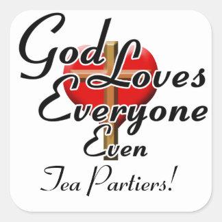 ¡Dios ama el té Partiers! Calcomanías Cuadradass Personalizadas