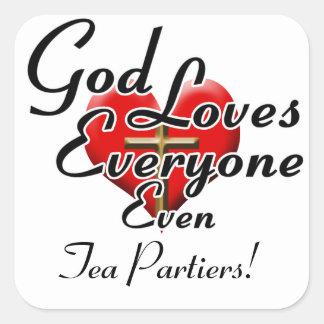 ¡Dios ama el té Partiers! Calcomanía Cuadradas Personalizada