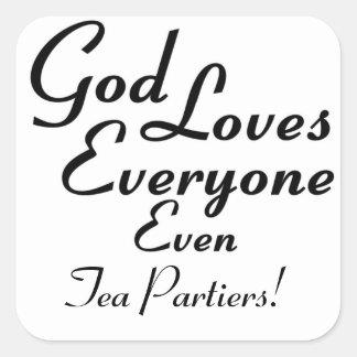 ¡Dios ama el té Partiers! Calcomania Cuadradas