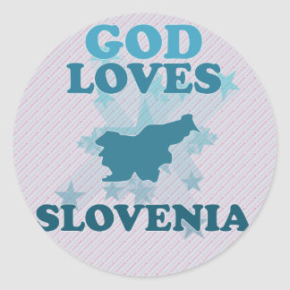 Dios ama Eslovenia Pegatina Redonda
