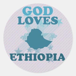 Dios ama Etiopía Pegatina Redonda