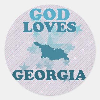 Dios ama Georgia Pegatina Redonda