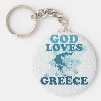 Dios ama Grecia Llavero Redondo Tipo Pin