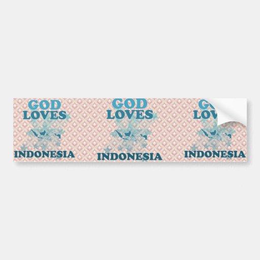 Dios ama Indonesia Etiqueta De Parachoque