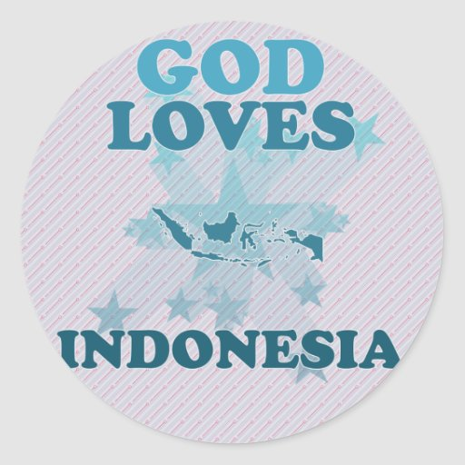 Dios ama Indonesia Pegatina Redonda