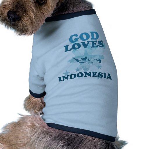 Dios ama Indonesia Camisas De Mascota
